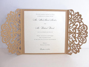 Laser Cut Wedding Invitation, Rustic Wedding Invite, Lace Wedding Invite, Bohemian Wedding Invitation, SQUARE - 2 KRAFT