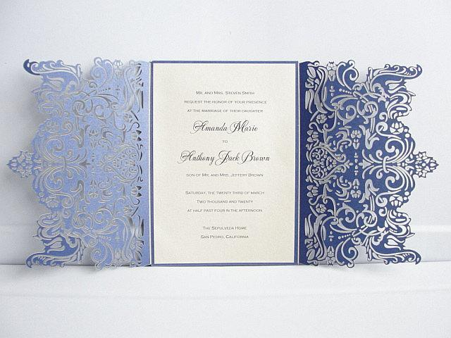 Laser Cut Wedding Invitation, Wedding Invitation, Wedding Invite, Navy Blue Wedding Invitation, Lace Wedding Invite, ENCHANTING