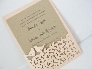 Laser Cut Wedding Invite, Fall Wedding Invitation, Love Bird Wedding Invite, Rustic Wedding Invitation, Autumn Wedding,  LOVE BIRD - BLUSH