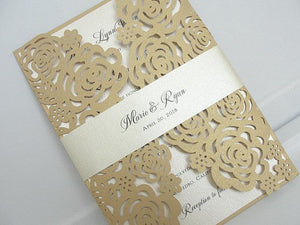 Rose Wedding Invitation, Wedding Invitation, Floral Invite, Laser Cut Wedding Invitation, Roses Wedding Invite, Wedding Invite, ROSES - GOLD