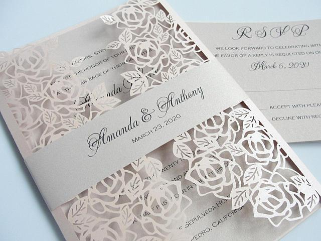 Rose Wedding Invitation, Wedding Invitation, Floral Invite, Laser Cut Wedding Invitation, Roses Wedding Invite, Wedding Invite, ROSETTE
