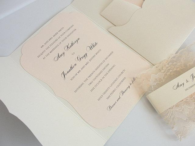 Wedding Invitation, Blush Wedding Invite, Lace Wedding Invite, Elegant Wedding Invitation, Scallop Pocket Wedding Invite, SCALLOPS POCKET