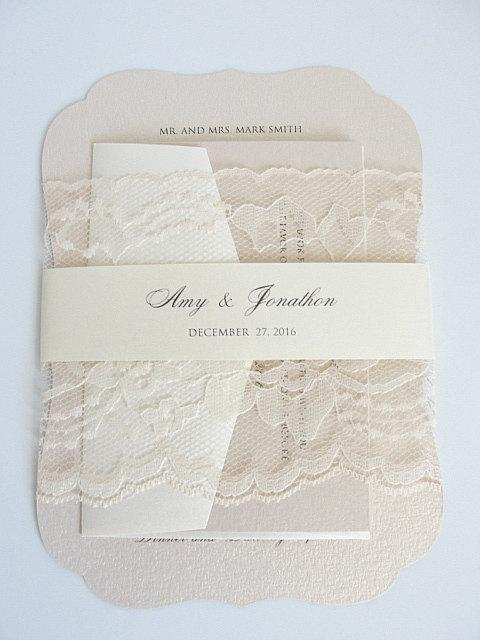 Wedding Invitation, Blush Wedding Invite, Lace Wedding Invite, Elegant Wedding Invitation, Scallop Wedding Invite, SCALLOPS BLUSH