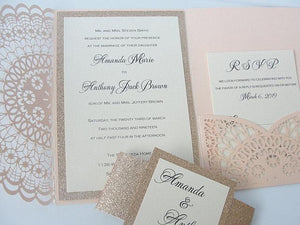 Wedding Invitation, Laser Cut Pocketfold Wedding Invitation, Pocketfold Invite, Lace Wedding Invite, LASER POCKETFOLD DOILY