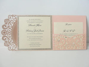 Wedding Invitation, Laser Cut Pocketfold Wedding Invitation, Pocketfold Invite, Lace Wedding Invite, LASER Pocketfold - FRENCH PINK