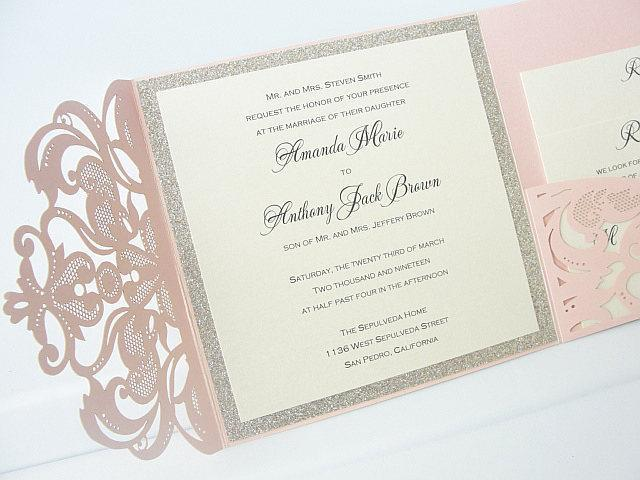 Wedding Invitation, Laser Cut Pocketfold Wedding Invitation, Pocketfold Invite, Lace Wedding Invite, LASER Pocketfold - SWIRL PINK