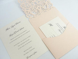 Wedding Invitation, Laser Cut Wedding Invitation, Lace Laser Wedding Invite, Lace Wedding Invite, Laser Pocket Invitation, TEARDROP-BLUSH