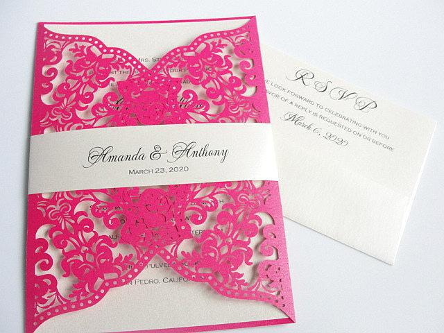 Wedding Invitation, Laser Cut Wedding Invitation, Laser Cut Wedding Invite, Vintage Wedding Invitation, IRIS - HOT PINK