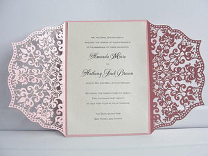 Wedding Invitation, Laser Cut Wedding Invitation, Laser Cut Wedding Invite, Vintage Wedding Invitation, IRIS - PINK