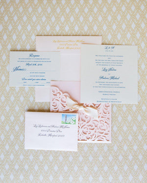 Wedding Invitation, Laser Cut Wedding Invitation, Laser Cut Wedding Invite, Vintage Wedding Invitation, POCKET - BLUSH w/Ribbon KNOT