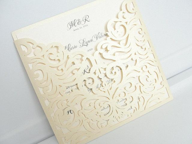 Wedding Invitation, Laser Cut Wedding Invitation, Laser Cut Wedding Invite, Wedding Invite, Vintage Wedding Invitation, POCKET - IVORY
