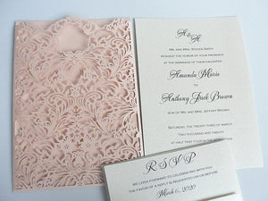 Wedding Invitation, Laser Cut Wedding Invitation, Laser Wedding Invite, Lace Wedding Invite, Laser Pocket Invitation, FLORA