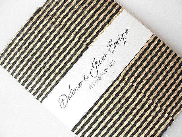 Wedding Invitation, Wedding Invite, Gatsby Invitation, Art Deco Invitation, Retro Invitation, Black and Gold Striped Invite, SARAHIE - 26