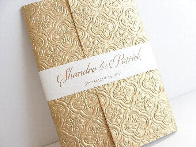 Wedding Invitation, Wedding Invite, Indian Invitations, Embossed Invitation, Gold Foil Invitation, Brocade Invitation, SARAHIE - 15