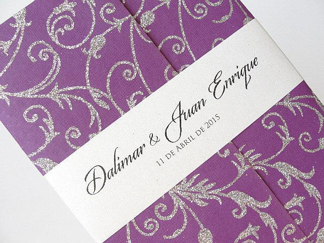 Wedding Invitation, Wedding Invite, Purple Invitation, Indian Invitation, Bridal Shower Invite, Silver Invitation, SARAHIE - 31