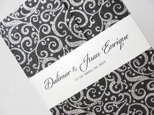 Wedding Invitation, Wedding Invite, Retro Invitation, Indian Invitation, Bridal Shower Invite, Black and Silver Invitation, SARAHIE - 29