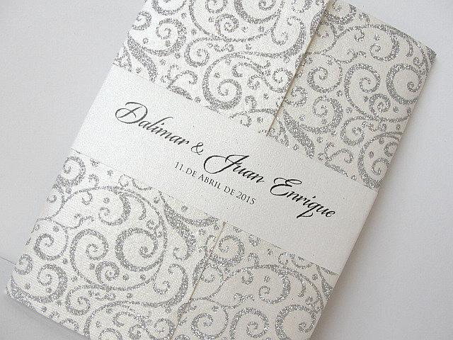 Wedding Invitation, Wedding Invite, Retro Invitation, Indian Invitation, Bridal Shower Invite, Silver Invitation, SARAHIE - 30