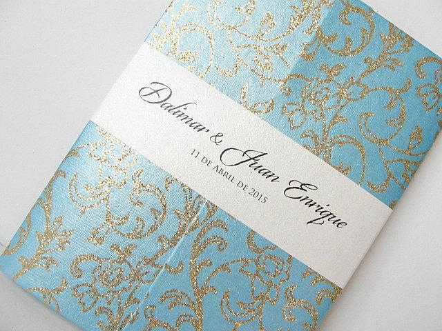 Wedding Invitation, Wedding Invite, Tourqouise Invite, Indian Invitation, Bridal Shower Invite, Gold Invitation, SARAHIE - 27