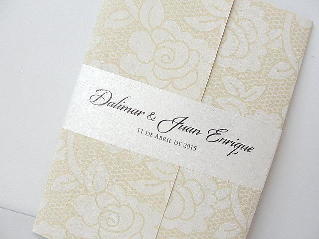 Wedding Invitation, Wedding Invite, Unique Invitation, Floral Lace Invite, Bridal Shower Invite, Ivory Invitation, SARAHIE-35