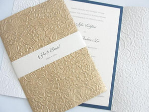 Wedding Invitation, Wedding Invite, Unique Invitation, Indian Invitation, Embossed Invitation, Floral Invitation, SARAHIE - 2 GOLD