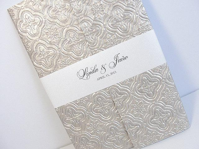 Wedding Invitation, Wedding Invite, Unique Invitation, Indian Invitation, Embossed Invitation, Pewter Invitation, SARAHIE-25