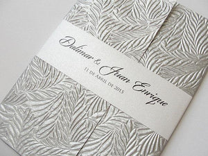 Wedding Invitation, Wedding Invite, Unique Invitation, Indian Invitation, Embossed Invitation, Silver Invitation, SARAHIE-37