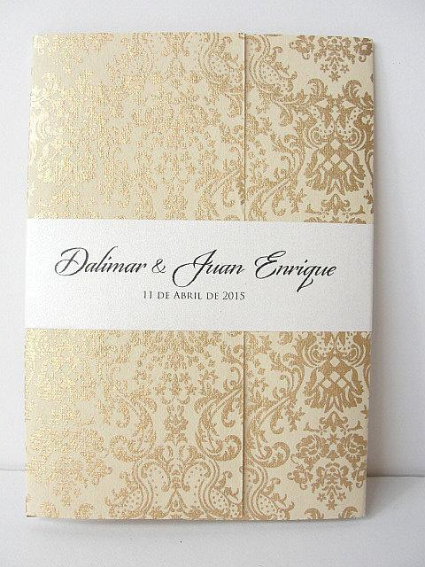 Wedding Invitation, Wedding Invite, Unique Invitation, Indian Invitation, Quinceanera Invite, Damask Invitation, SARAHIE-23
