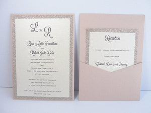 Wedding Invitations, Wedding Invite, Glitter Invitation, Glitter Wedding Invite, Blush Pink Invitation, Pocket Invite, UMA  - FLIP