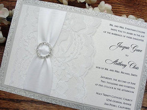 Wedding Invitations, Wedding Invite, Glitter Wedding Invitations, Lace Wedding Invitation, Glitter Wedding, COCO - CIRCLE HORIZONTAL