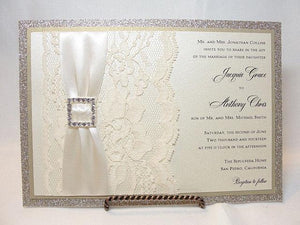 Wedding Invitations, Wedding Invite, Glitter Wedding Invitations, Lace Wedding Invitation, Glitter Wedding, COCO - SQUARE HORIZONTAL