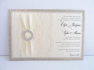 Wedding Invitations, Wedding Invite, Glitter Wedding Invitations, Lace Wedding Invitation, Lace Invite, COCO- DOUBLE Circle HORIZONTAL