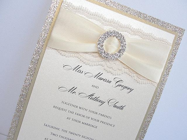 Wedding Invitations, Wedding Invite, Glitter Wedding Invitations, Lace Wedding Invitation, Lace Invite, COCO-DOUBLE Circle VERTICAL
