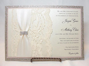 Wedding Invitations, Wedding invite, Lace Invitation, Glitter Wedding Invite, Pocketfold Wedding Invite, Gold Wedding, COCO-CURVE HORIZONTAL