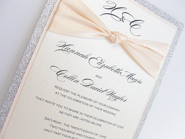 Wedding Invitations, Wedding invite, Lace Invitation, Glitter Wedding Invite, Pocketfold Wedding Invite, Silver Wedding, ZAZA BLUSH