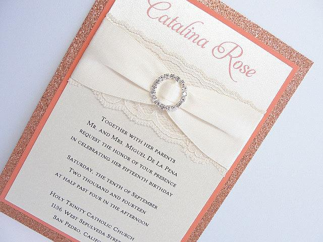 Wedding Invitations, Wedding Invite, Lace Wedding Invitation, Glitter Invite, Sweet 16 Invitations, Quinceanera Invite, COCO-QUINCE PEACH