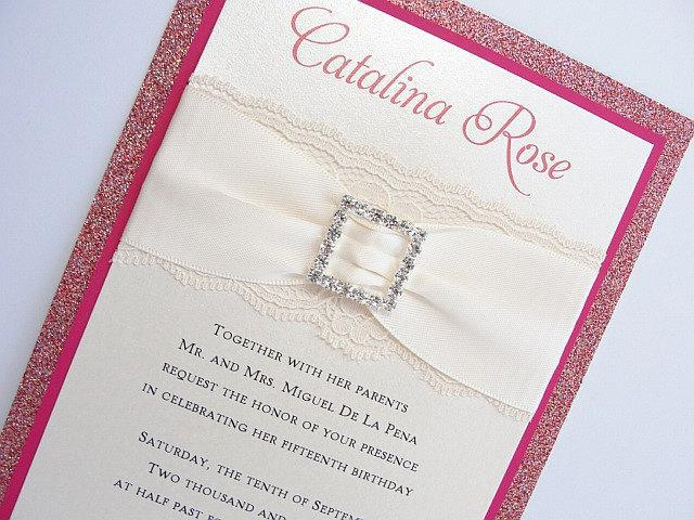 Wedding Invitations, Wedding Invite, Lace Wedding Invitation, Glitter Invite, Sweet 16 Invitations, Quinceanera Invite, COCO-QUINCE PINK