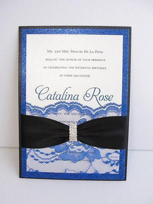 Wedding Invitations, Wedding Invite, Lace Wedding Invitation, Glitter Invite, Sweet 16 Invitations, Quinceanera Invite, LALA  - QUINCE