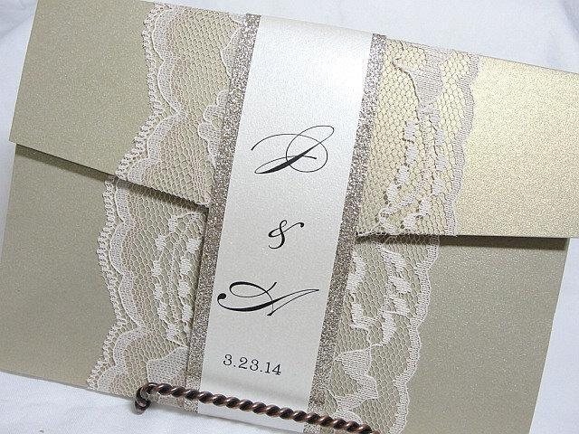 Wedding Invitations, Wedding Invite, Lace Wedding Invitation, Lace Invite, Gold Wedding Invitation, Pocketfold Invite AMY - BAND GOLDGLITTER