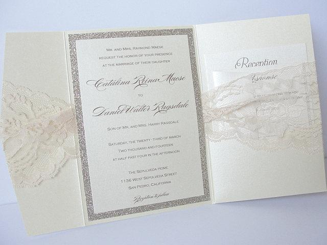 Wedding Invitations, Wedding invite, Lace Wedding Invite, Glitter Wedding Invite, Pocketfold Wedding Invite, UMA-VERTICAL POCKETFOLD