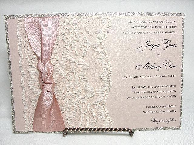 Wedding Invitations, Wedding invite, Lace Wedding Invite, Lace Invitation, Glitter Wedding Invite, Blush Pink Wedding Invite LUNA - 3