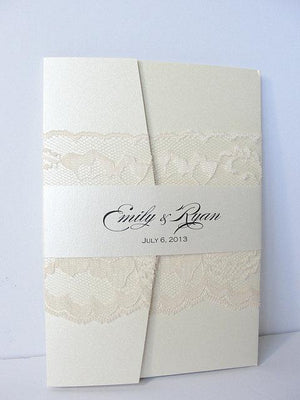 Wedding Invitations, Wedding invite, Lace Wedding Invite, Lace Invitation, Glitter Wedding Invite, Pocketfold Wedding Invite, GATEFOLD-IVORY