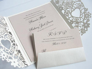Wedding Invitations, Wedding Invites, Laser Cut Wedding Invitations, Heart Wedding Invites, Blush Wedding Invite, LOVELY HEARTS BLUSH