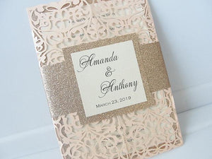 Wedding Invitations, Wedding Invites, Laser Cut Wedding Invitations, Laser Cut Wedding Invites, Blush Wedding Invite, FAIRYTALE