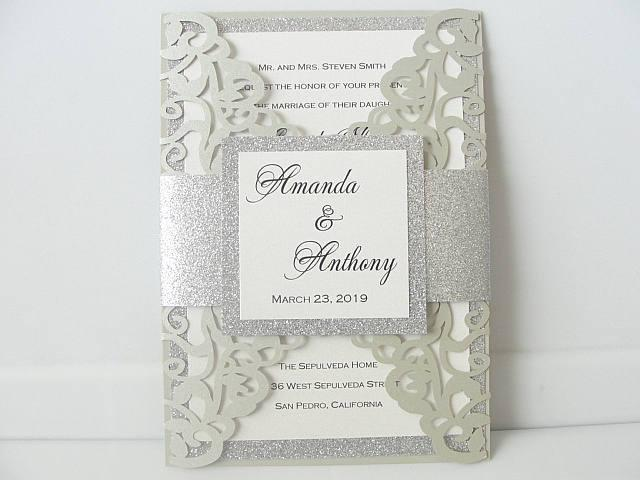 Wedding Invitations, Wedding Invites, Laser Cut Wedding Invitations, Laser Cut Wedding Invites, Blush Wedding Invite, PLATINUM