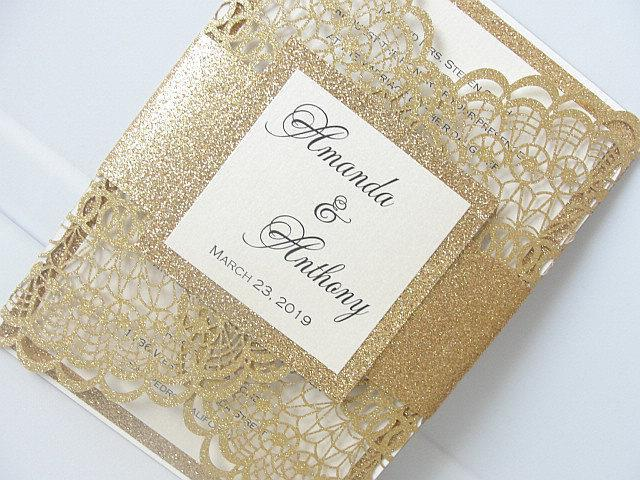 Wedding Invitations, Wedding Invites, Laser Cut Wedding Invitations, Laser Cut Wedding Invites, Gold Wedding Invite, DOILY - GOLD GLITTER