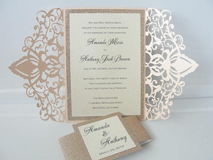 Wedding Invitations, Wedding Invites, Laser Cut Wedding Invitations, Laser Cut Wedding Invites, Gold Wedding Invite, ELEGANCE