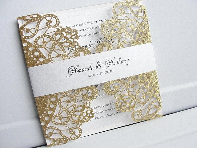 Wedding Invitations, Wedding Invites, Laser Cut Wedding Invitations, Laser Cut Wedding Invites, Gold Wedding Invite,  SERENDIPITY