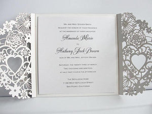 Wedding Invitations, Wedding Invites, Laser Cut Wedding Invitations, Laser Cut Wedding Invites, Silver Wedding Invite, LOVELY HEARTS