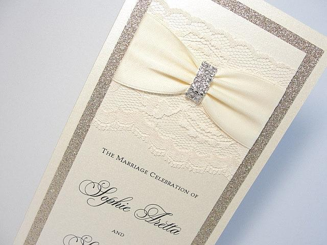 Wedding Program, Lace Wedding Program, Lace Program, Ceremony Card, Glitter Program