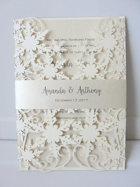 Winter Wedding Invitation, Snowflake Wedding Invite, December Wedding, Winter Wonderland Wedding, Snowflake Invite, SNOW